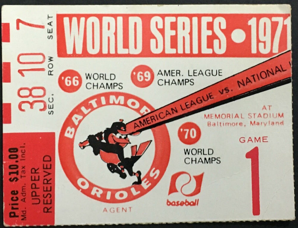Details about 1971 World Series Ticket Game 1 Memorial