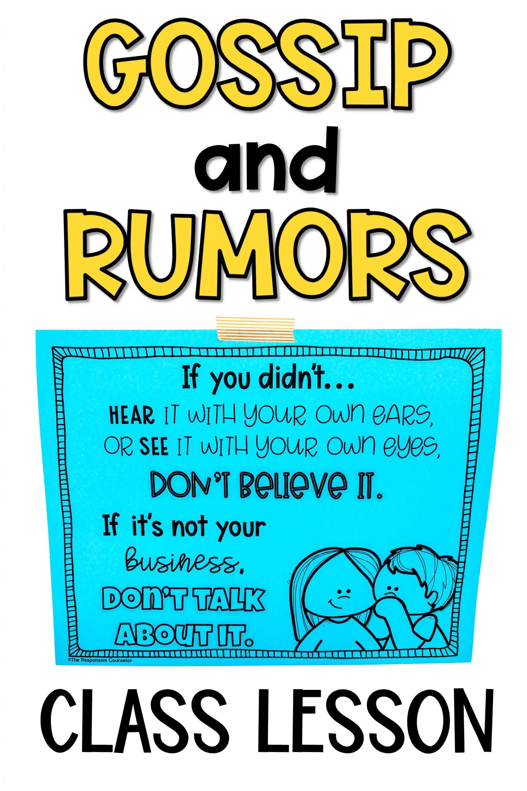 Gossip and Rumors Lesson in 2020 Curriculum mapping