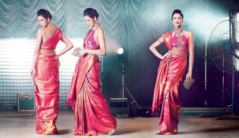 Beautiful Pink And Gols Saree Jayalakshmi Silks