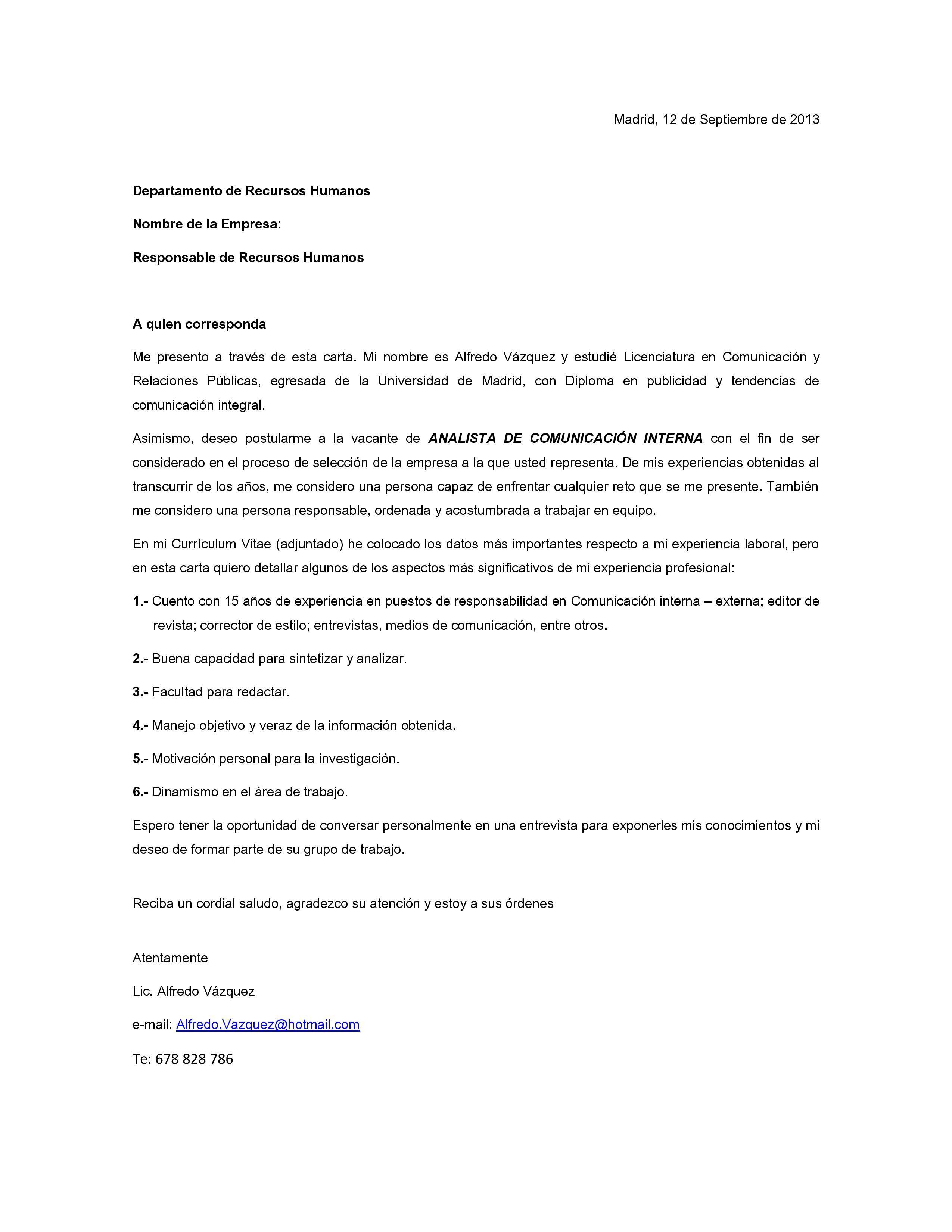 Modelo 1 De Carta De Presentacion Cartas De Presentación Del Currículum Carta De Presentacion Laboral Carta De Motivacion Laboral
