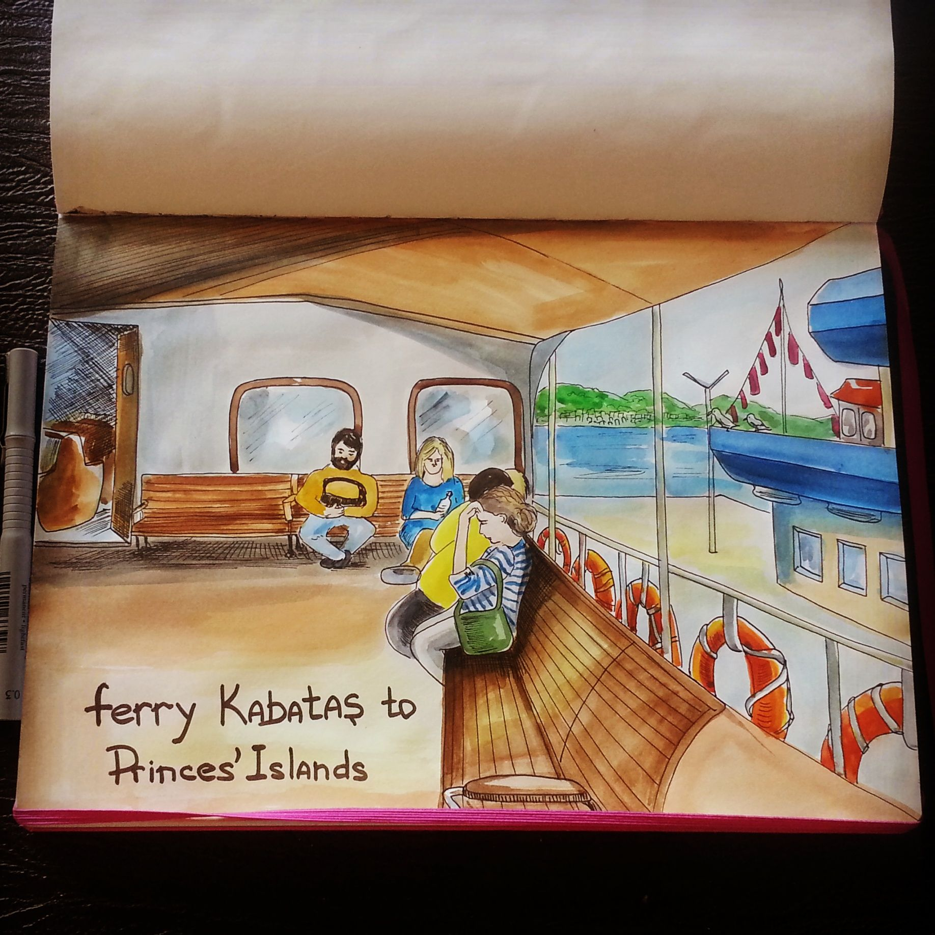 watercolor sketch. Istanbul ferry. watercolor, liners, Leuchtturm1917 @juliasavushkina