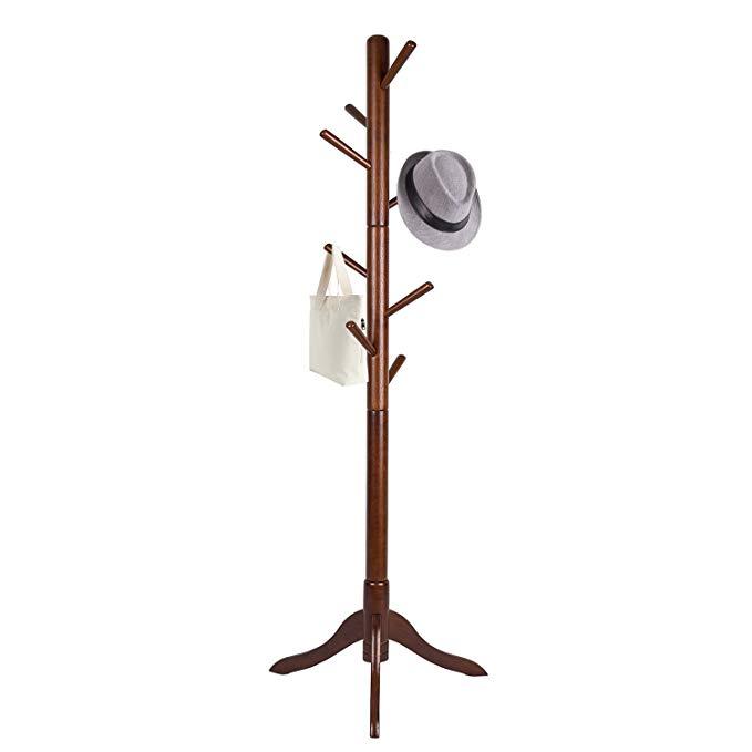 Amazon Com Vlush Free Standing Coat Rack Wooden Coat Hat Tree Coat Hanger Holder Enterway Hall Tree With Solid Rubb Free Standing Coat Rack Hat Tree Coat Rack