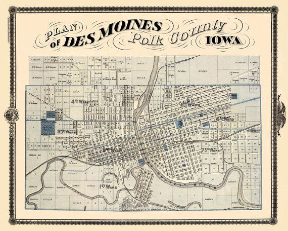 Antique Map Vintage Map Of Des Moines Iowa Print X - Vintage iowa map