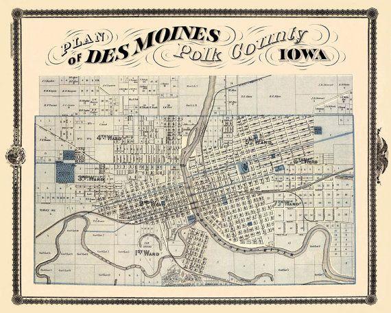 Des Moines Map Old Map Print Map Of Des Moines Fine