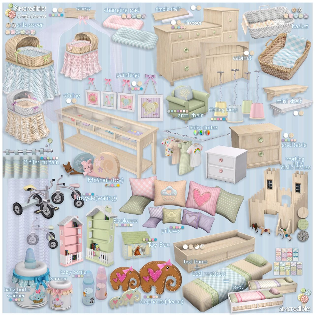 Lana cc finds candy covered by simcredible ts4 decor kids pinterest sims sims cc and - Sims 3 babyzimmer ...