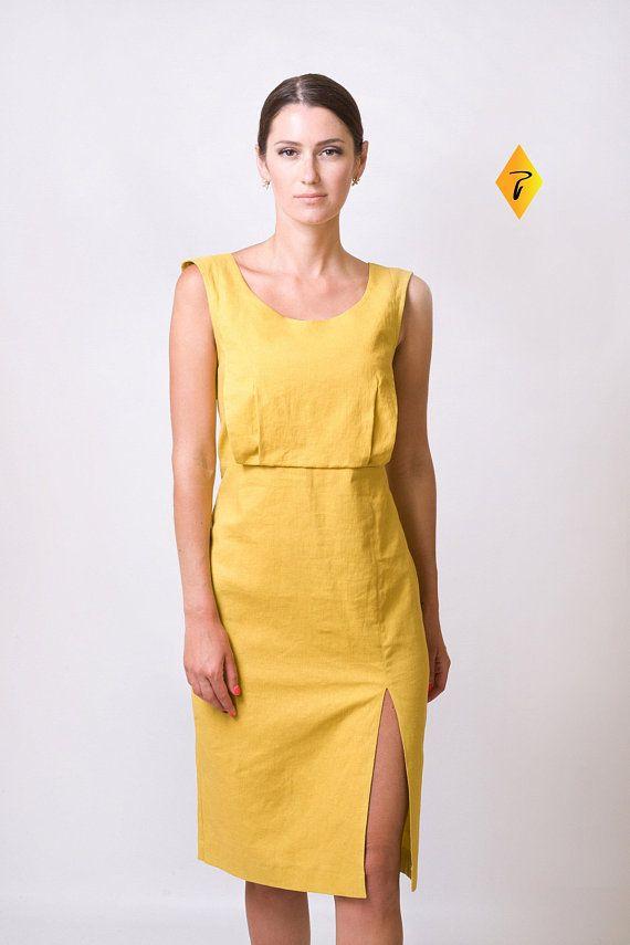015c9a96c65 Mustard Linen Dress by TAVROVSKA