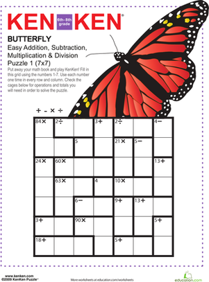 math worksheet : butterfly kenken® puzzle  logic games middle school maths and  : Junior High Math Worksheets