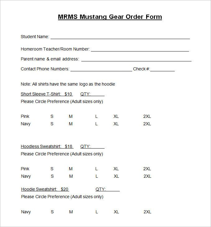 T Shirt Order Form Template 21 Free Word Pdf Format Download
