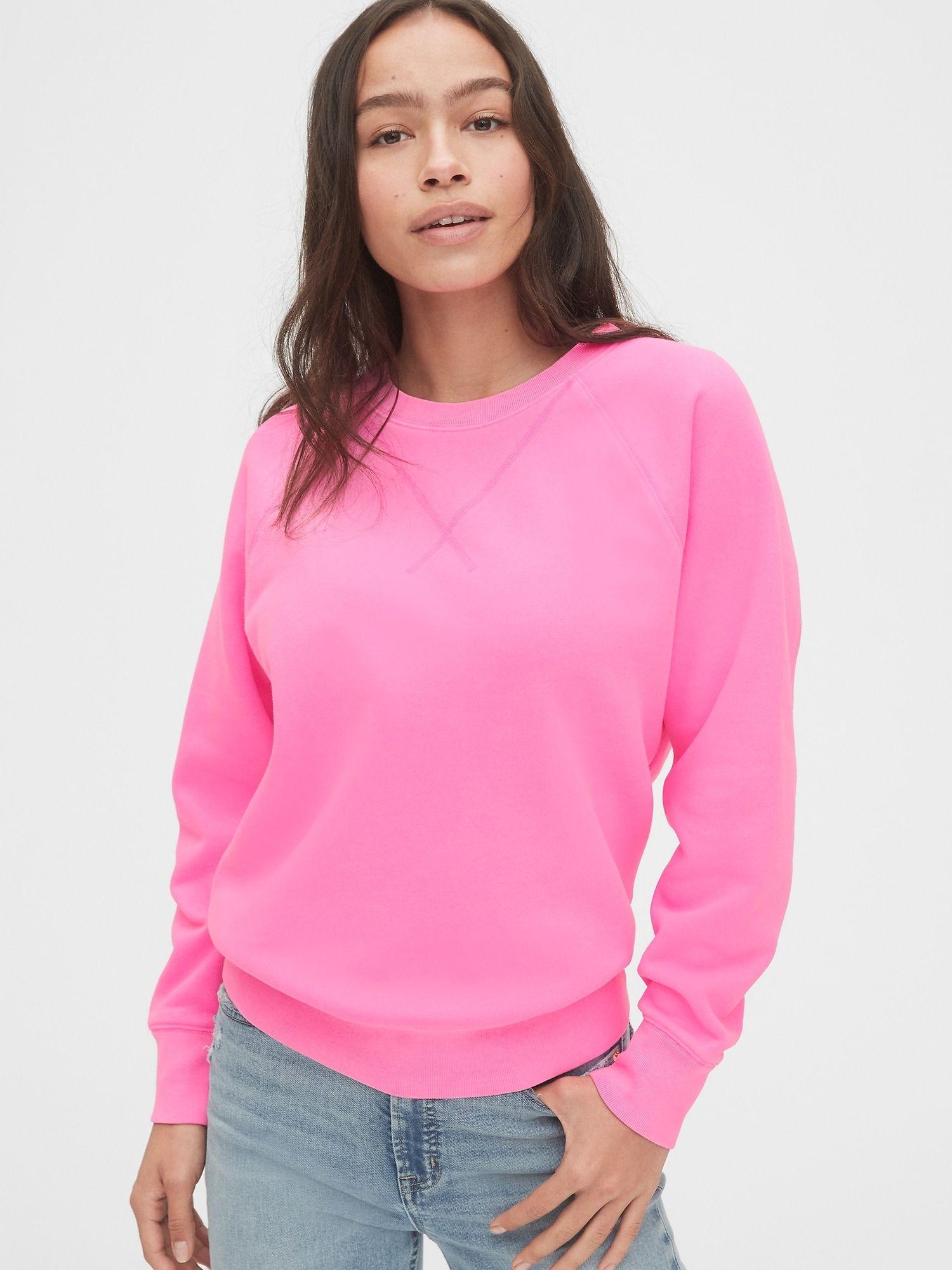 Gap Vintage Soft Crewneck Sweatshirt Sizzling Fucshia Pink Neon Women Long Sleeve Tops Soft Sweatshirts Pink Crewneck [ 2000 x 1500 Pixel ]