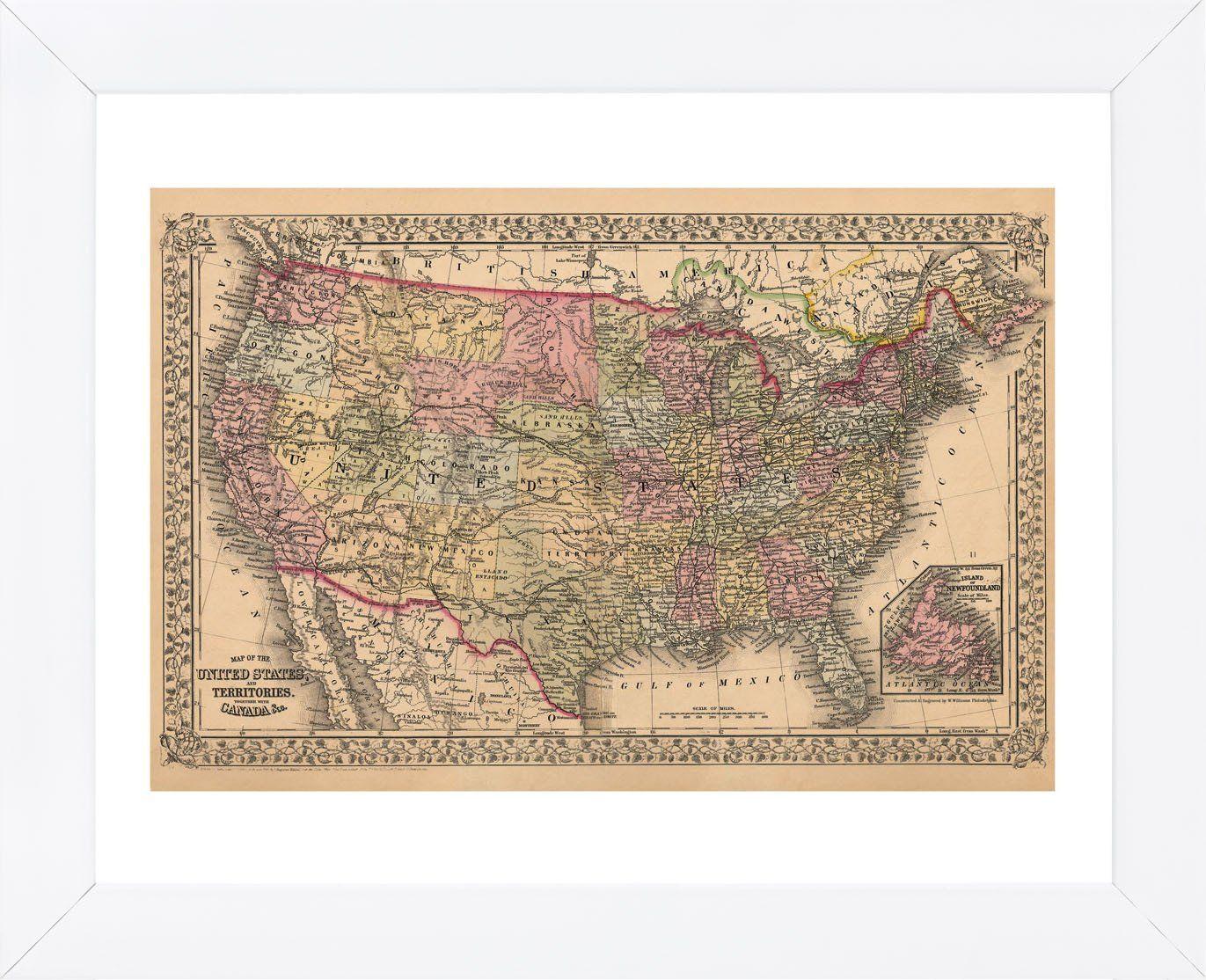 on framed map of united states