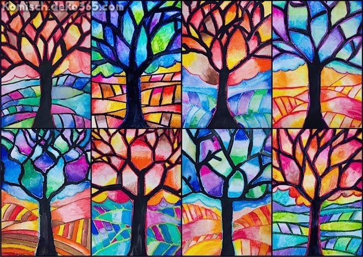 Baum Mit Warmen Und Kalten Farben Herbst Kunst Farben