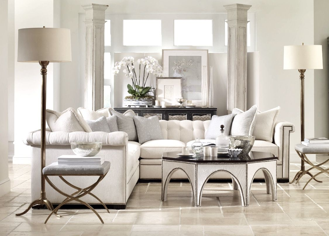 all white living room decor with white sectional modern
