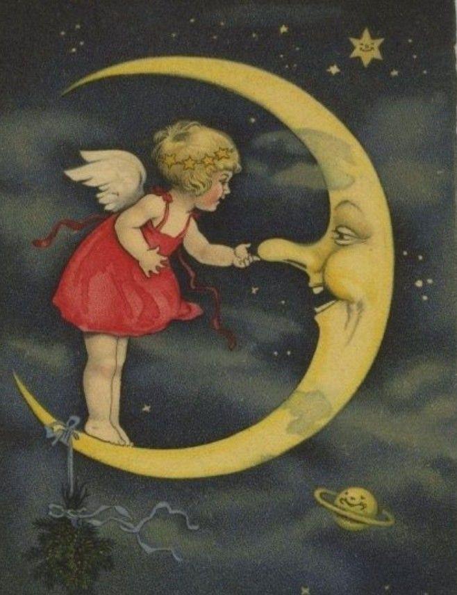 Надписью, винтажные открытки доброй ночи