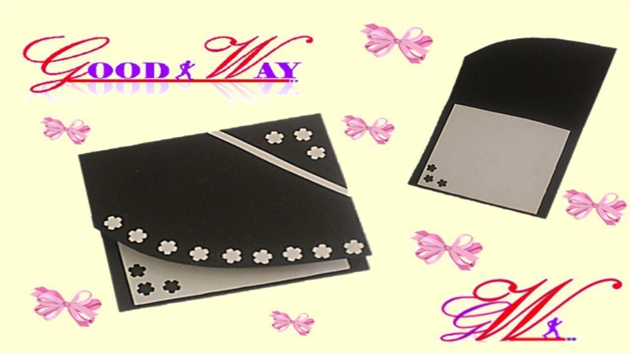 طريقة عمل بطاقة تهنئة أو دعوة أو مطوية Greeting Card Or Invite Hand Art Cards Diy And Crafts