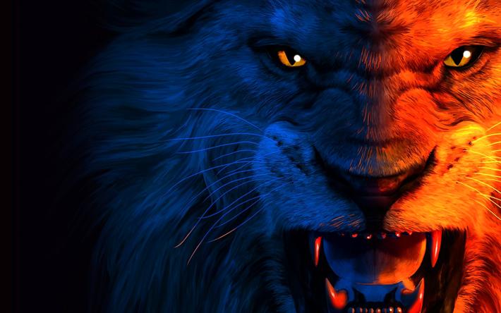 Download wallpapers lion, art, muzzle, anger, predators