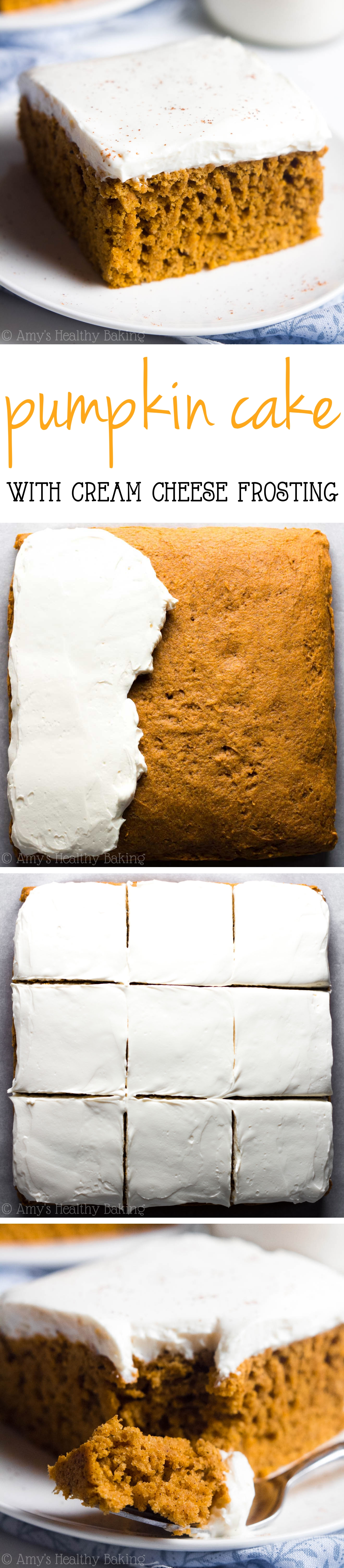 The BEST Pumpkin Cake with Cream Cheese Frosting -- nobody could tell this skinny cake was healthy! SO good!! #cupcake #sweetstuff