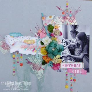 When the party is over......an amazing LAYOUT from DT member Lynne Forsythe.  She uses Petaloo Botanica flowers, berries, and trims along with Doodlebug Sweet Shoppe papers.  WOW Lynne....