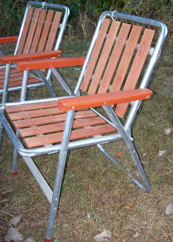 Redwood Patio Furniture Home Depot: Vintage ALUMINUM & REDWOOD Slat Folding Chair Outdoor