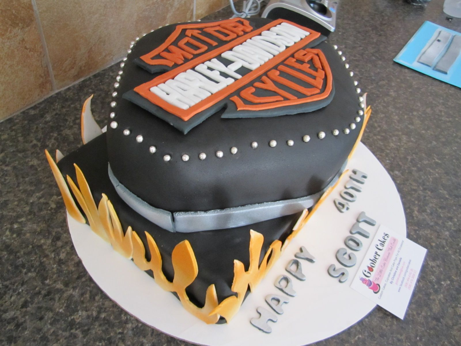 Harley Davidson Cake, Logo And Flames Are Hand Made And