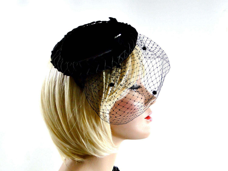 Vintage Little Black Hat 1950s   Velvet Fascinator Matching Veil     Soutache Trim    Feather    Bow Rhinestone   Womens Accessories Fashion by  ... 69c50016325