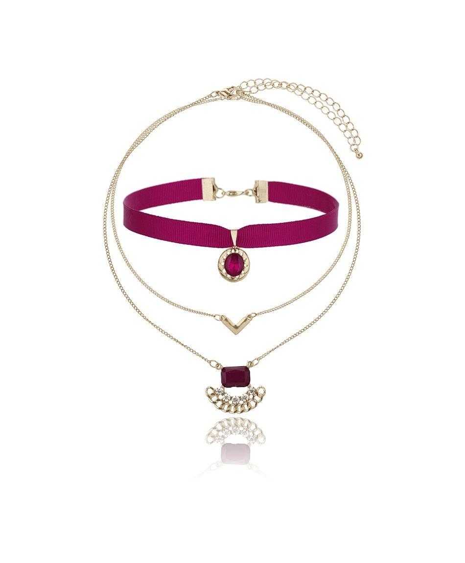 Gina Tricot - Red/gold choker necklace Burgundy
