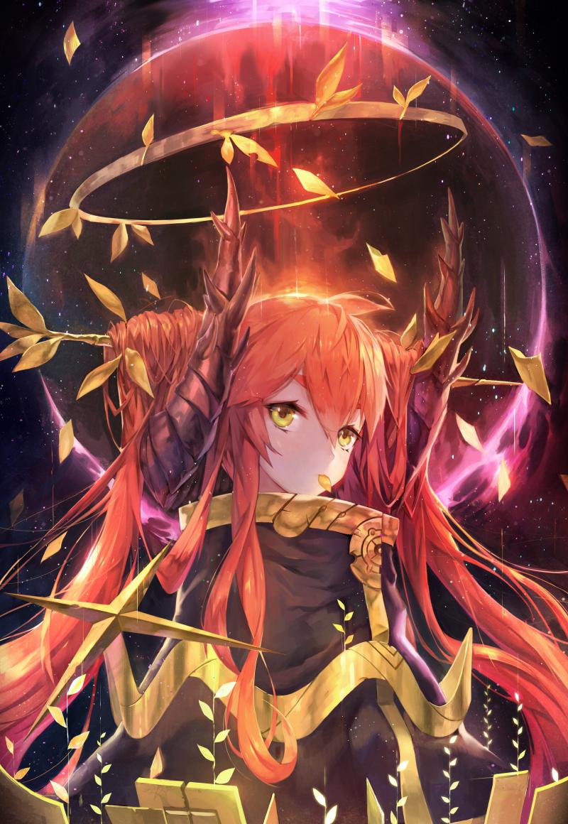 Anime girl red hair yellow eyes