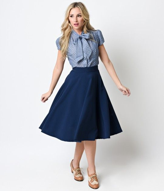 Looking for a stylish vintage dress for the school dance or a themed event like Dapper Day? At Unique Vintage, we offer a huge selection of gorgeous retro fashions like this Navy High Waist Thrills Swing Skirt. Fabulously fresh in a lush navy hue, the Thr