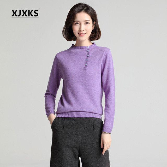 New Genuine Pure Cashmere Sweater Women Half Turtleneck Sweater High Quality 100% Cashmere Sweater 6102