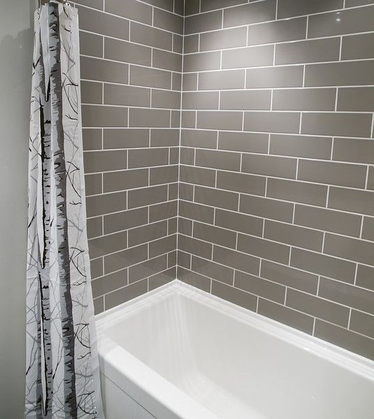 Incroyable A Small Bathroom Complete DIY Renovation With Grey Brick Pattern Subway  Tiles