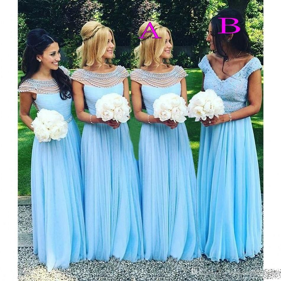 2017 Light Sky Blue Long Bridesmaid Dresses Scoop Beads Pearls Chiffon Maid  Of Honor Wedding Guest Dress Cheap Fashion Gown B123 18d81844b3dc