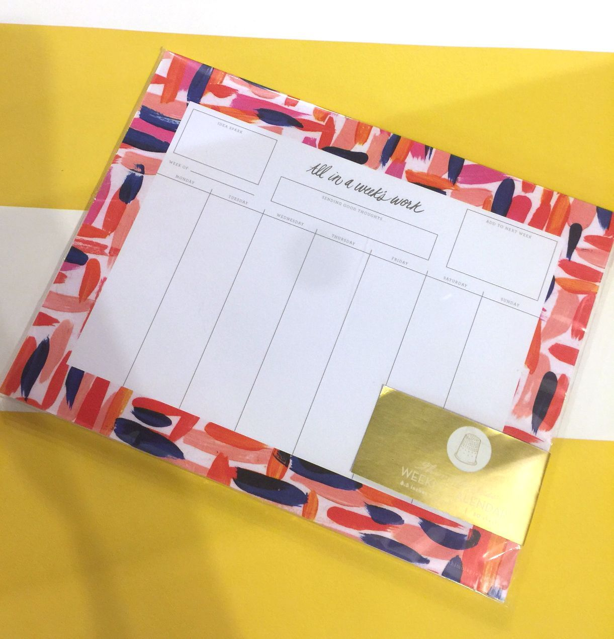 In A Week's Work Weekly Calendar Notepad We couldn't live without our weekly organizer! This is perfect for your desk in your dorm, apartment, or even at your job! Never miss another important class or meeting again!We couldn't live without our weekly organizer! This is perfect for your desk in your dorm, apartment,...
