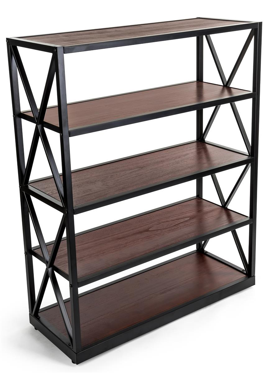 Steel Frame X Sided Shelving Unit With 5 Solid Wood Tiers Open Back Dark Brown Wood Shelves Shelves Wood Shelving Units