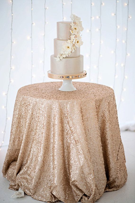 Champagne Sequin Tablecloths Rose Gold Cake Table Cocktail