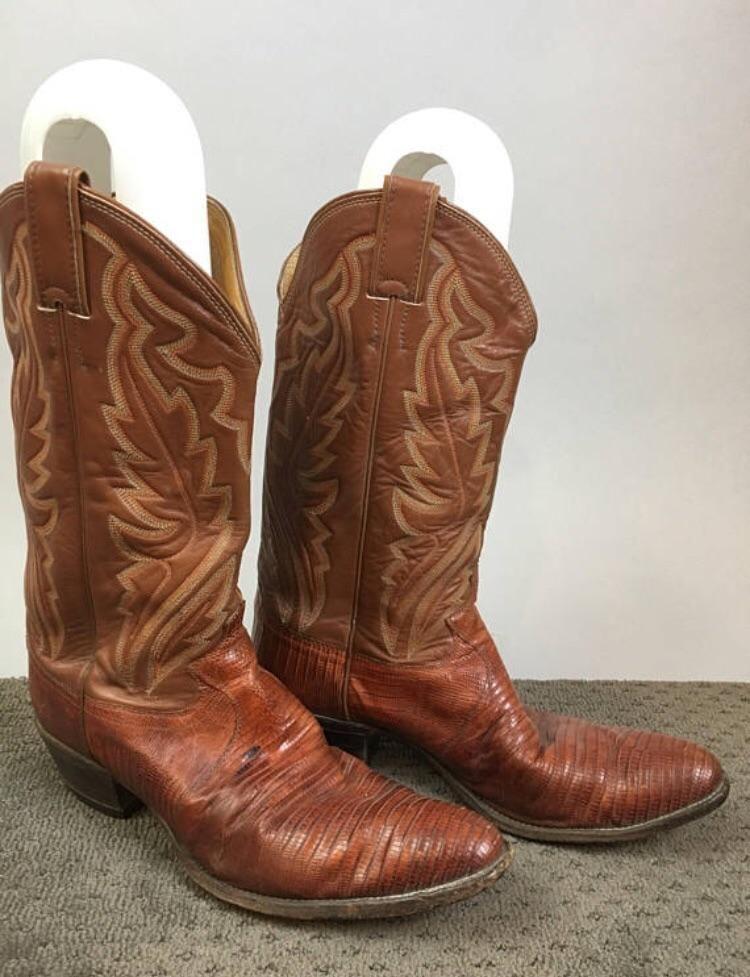 62a14dc0964 Vintage Justin Cowboy Boots// 80s Urban Cowboy Lizard Skin and ...