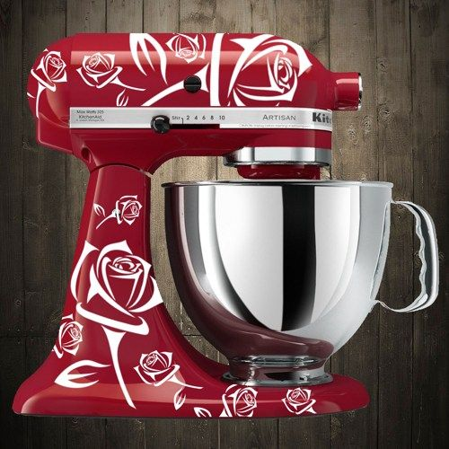 Roses White Kitchen Aid Mixer Decals Pimped Out Mixers