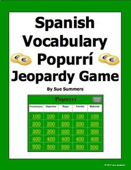spanish vocabulary popurri jeopardy game - spanish gamessue, Powerpoint templates