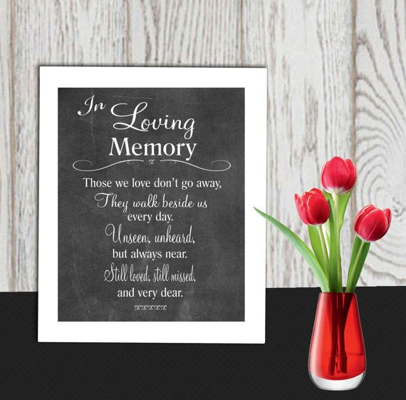 Memorial Sign Printable In Loving Memory Print Wedding Table Poem Those We Love Don T Go 5x7 8x10
