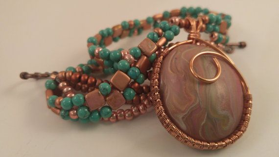 Turquoise & Rose Triple Strand Copper-Wrapped Pendant by Viloflux