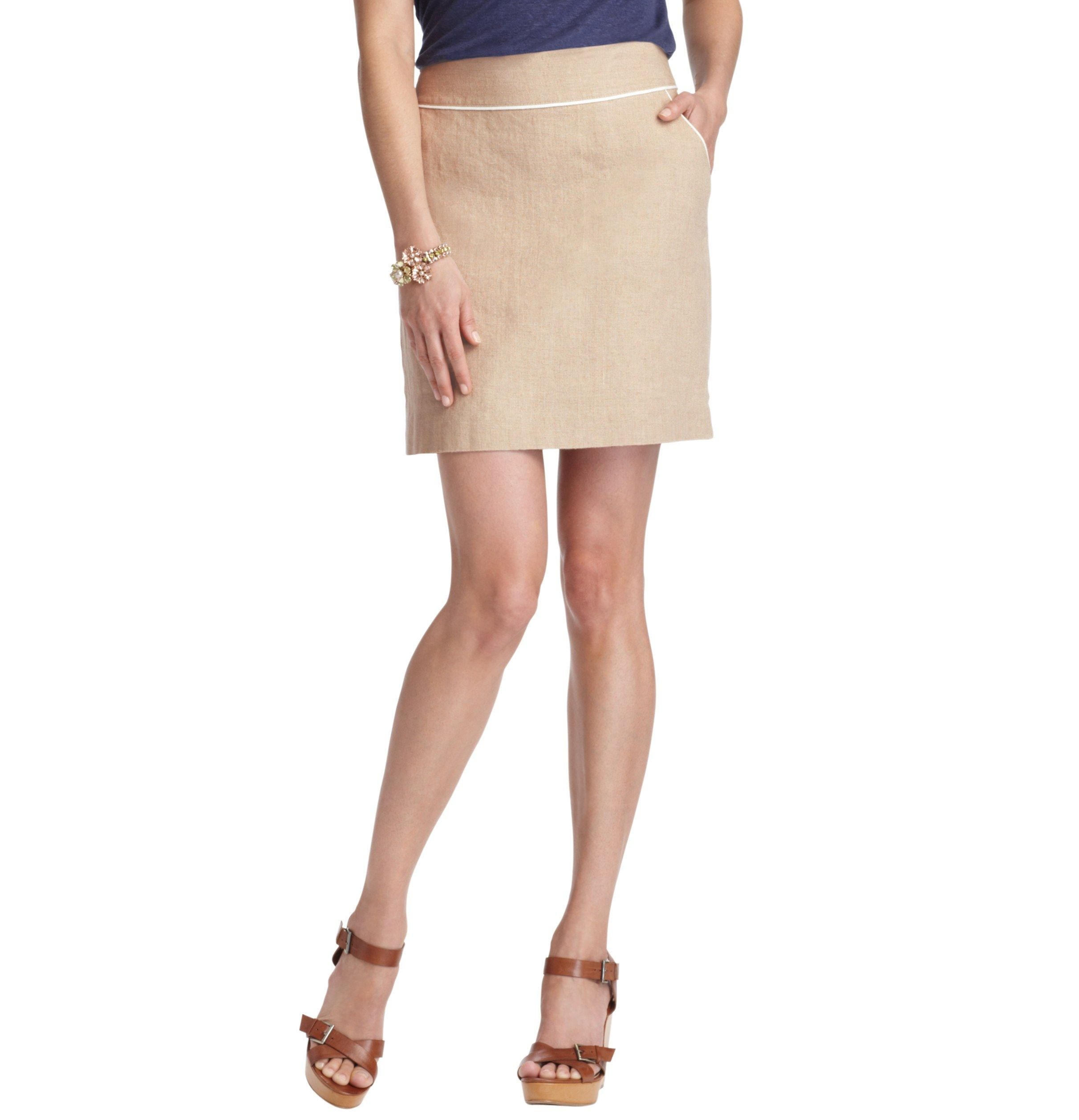 love the piping details | Petite Tipped Linen Shift Skirt | LOFT