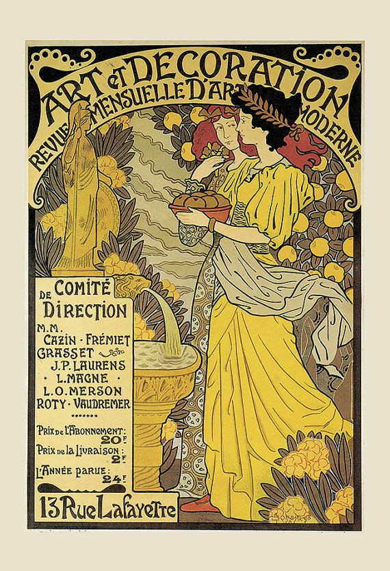 Vintage Art Nouveau Poster BELLE EPOQUE Poster Print Vintage French ...