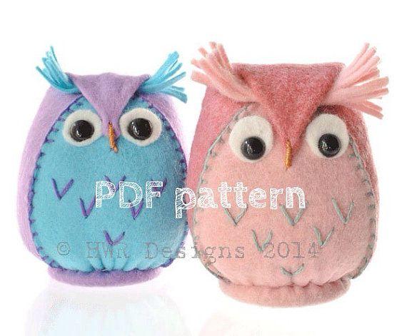 Felt Owl pattern,PDF Downloadable Pattern for Felt owl Plushie,Sewing pattern