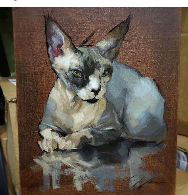 Dog Portraits Painting, Cat