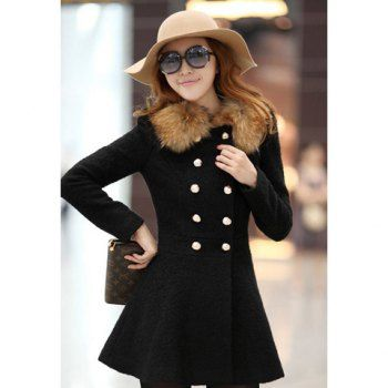 Cheap Wholesale Slim Fit Round Neck Double-Breasted Women's Coat(Without Faux Fur Collar) (BLACK,M) At Price 27.92 - DressLily.com