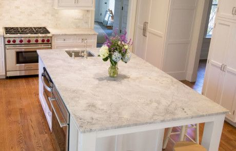 Leathered Finish White Quartzite Replacing Kitchen Countertops