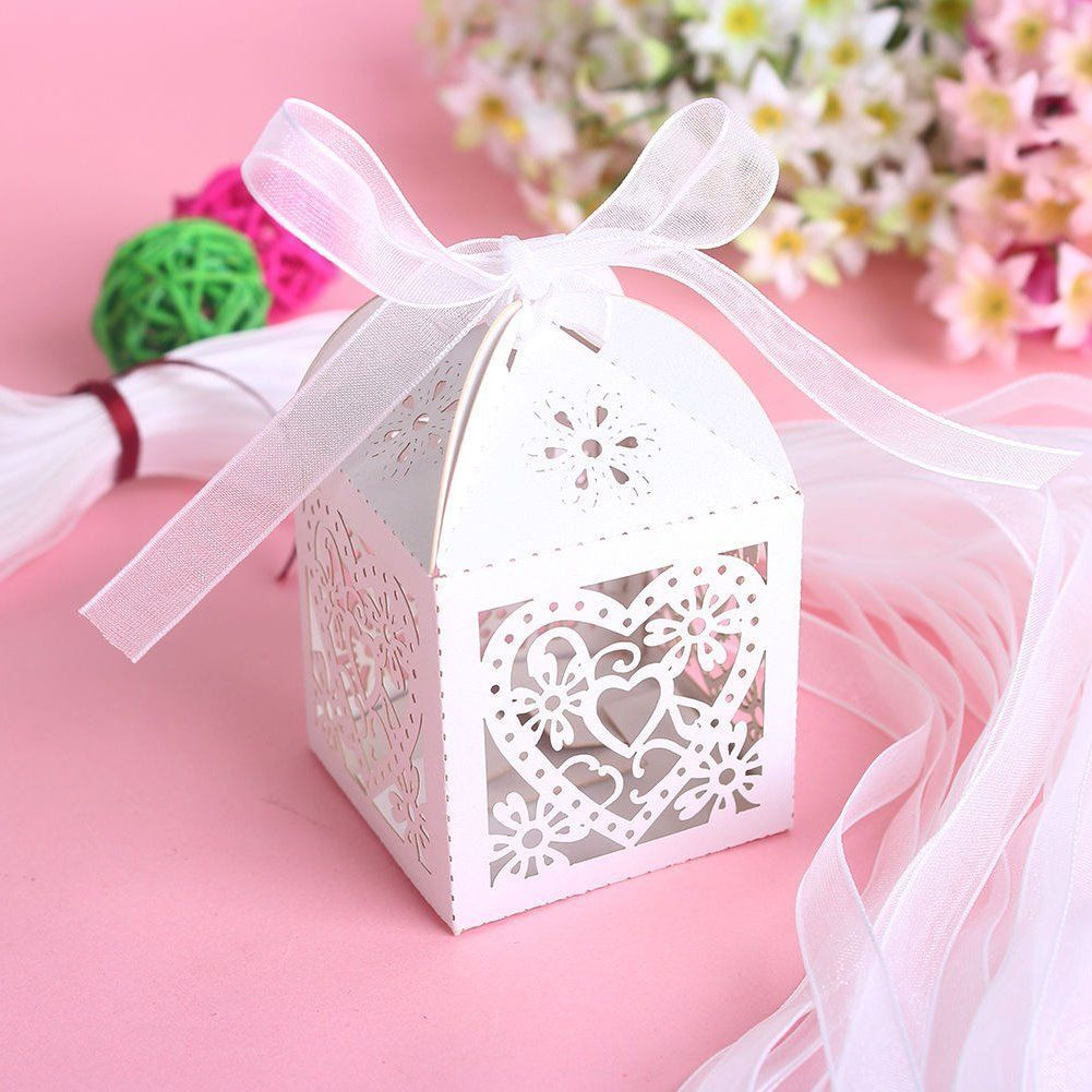 50 Pcs Love Heart Laser Cut Wedding Party Favor Ribbon Gift Box ...