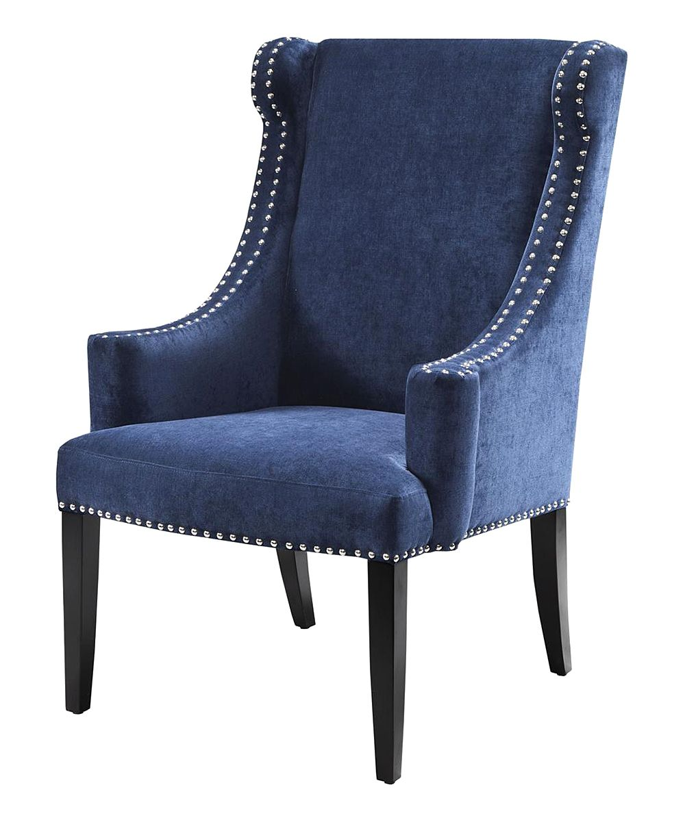 19999 Black Noir Royal Blue Accent Chair Zulily Seat Ht 1925
