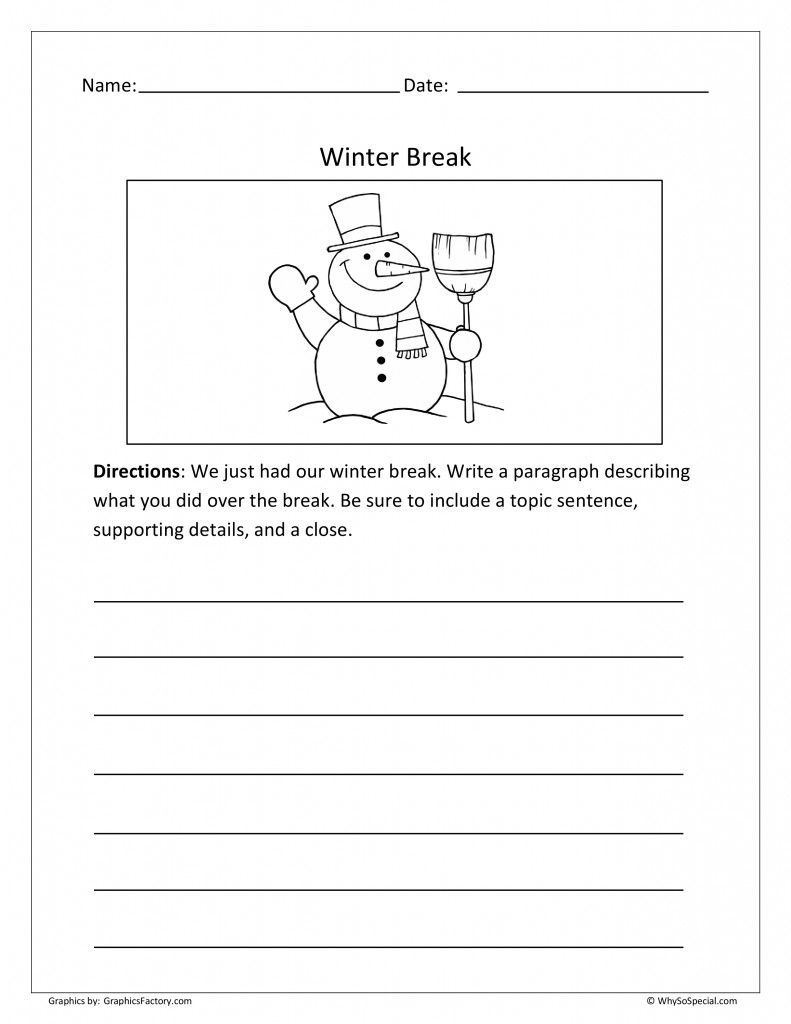 Winter Break Writing Prompt Free  Whysospecial Freebies
