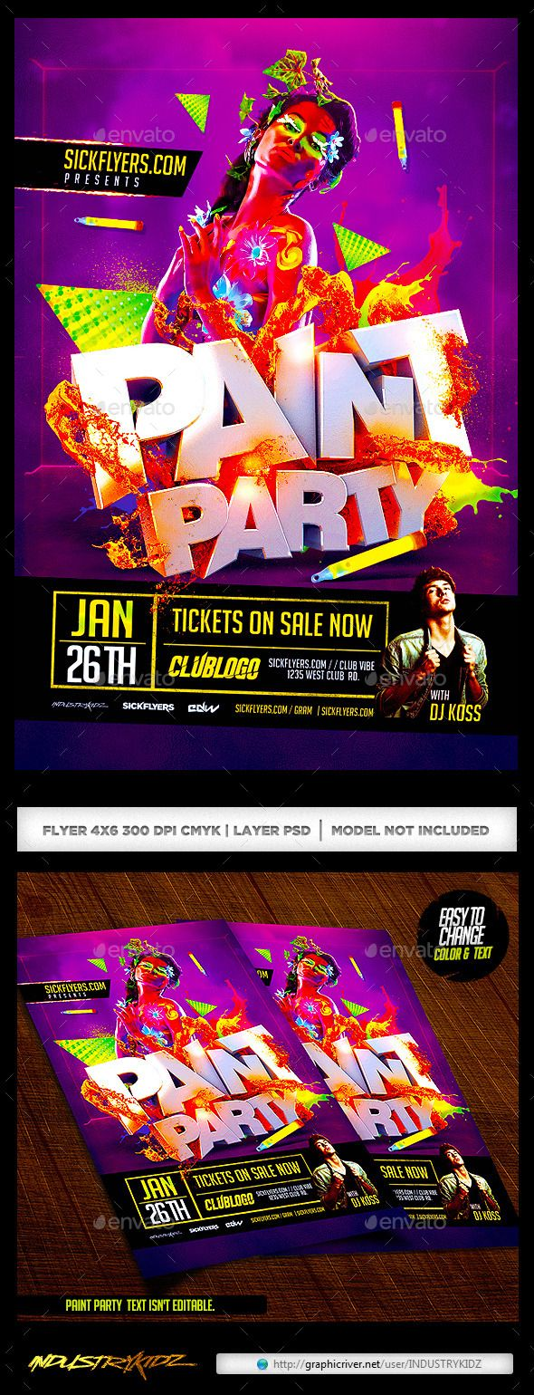 Paint Party Flyer / Glow In the Dark | Paint party and Party flyer