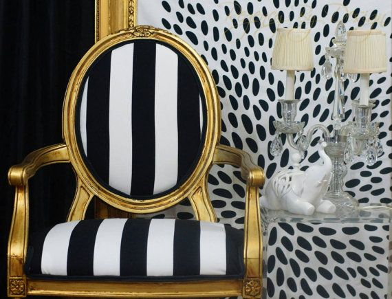 Gorgeous Gold Louis XVI Styled Armchair, Hand Painted And Upholstered In  White And Black Striped