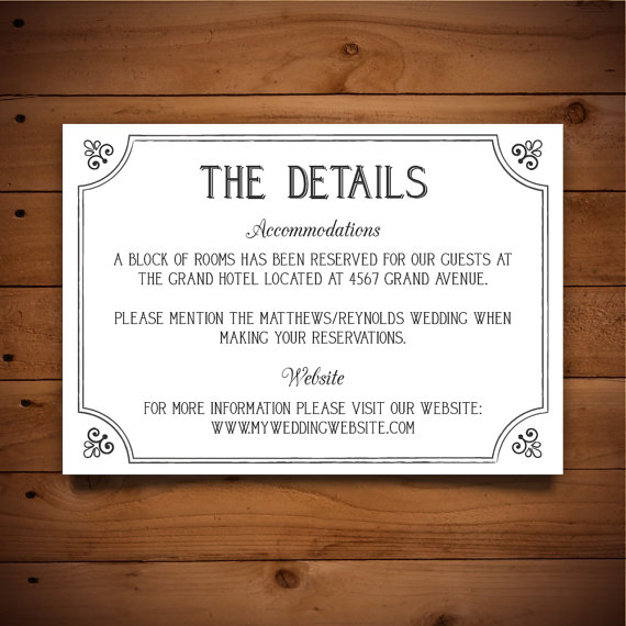 Printable Info Card Template Diy Wedding Rustic Instant Downloa